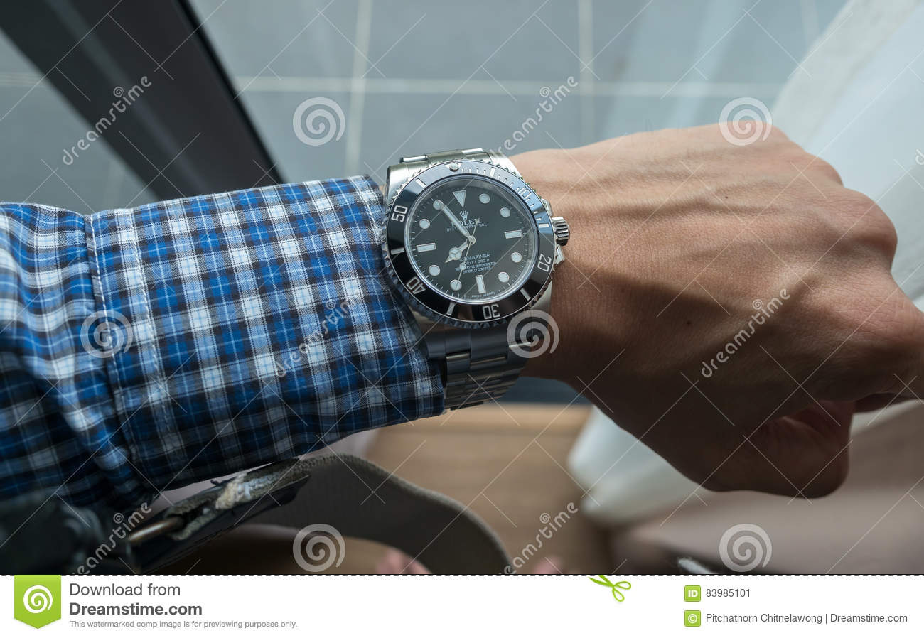 Rolex Submariner On Left Wrist Editorial Photo , Image of