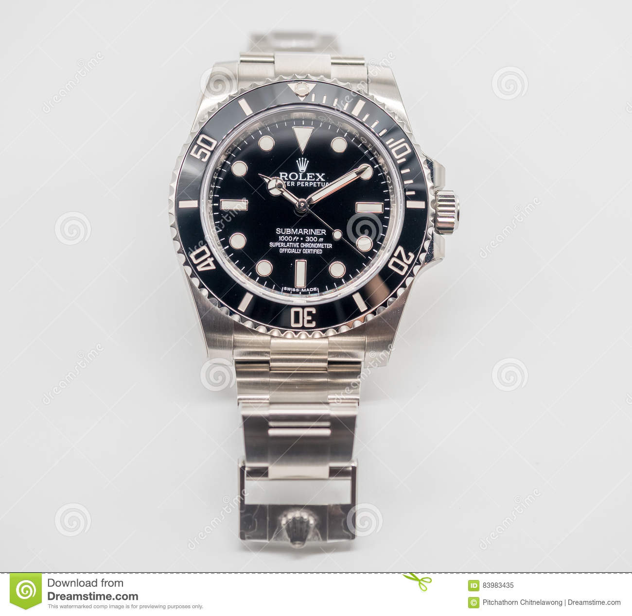 Rolex Submariner On White Background Editorial Image - Image of hand