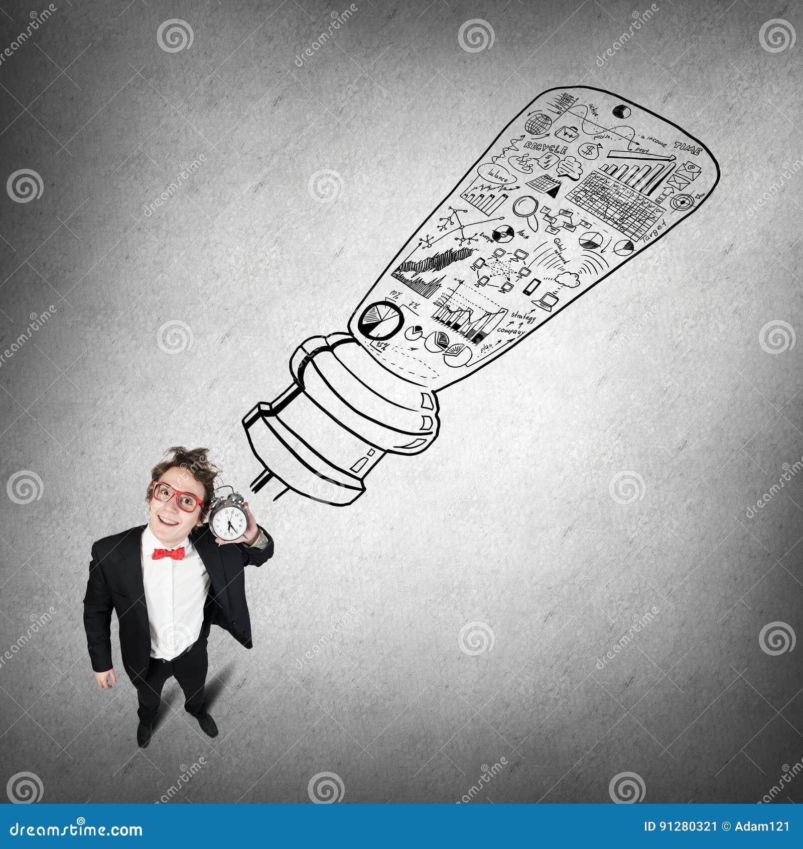 Rolig affärsman med ringklockan
