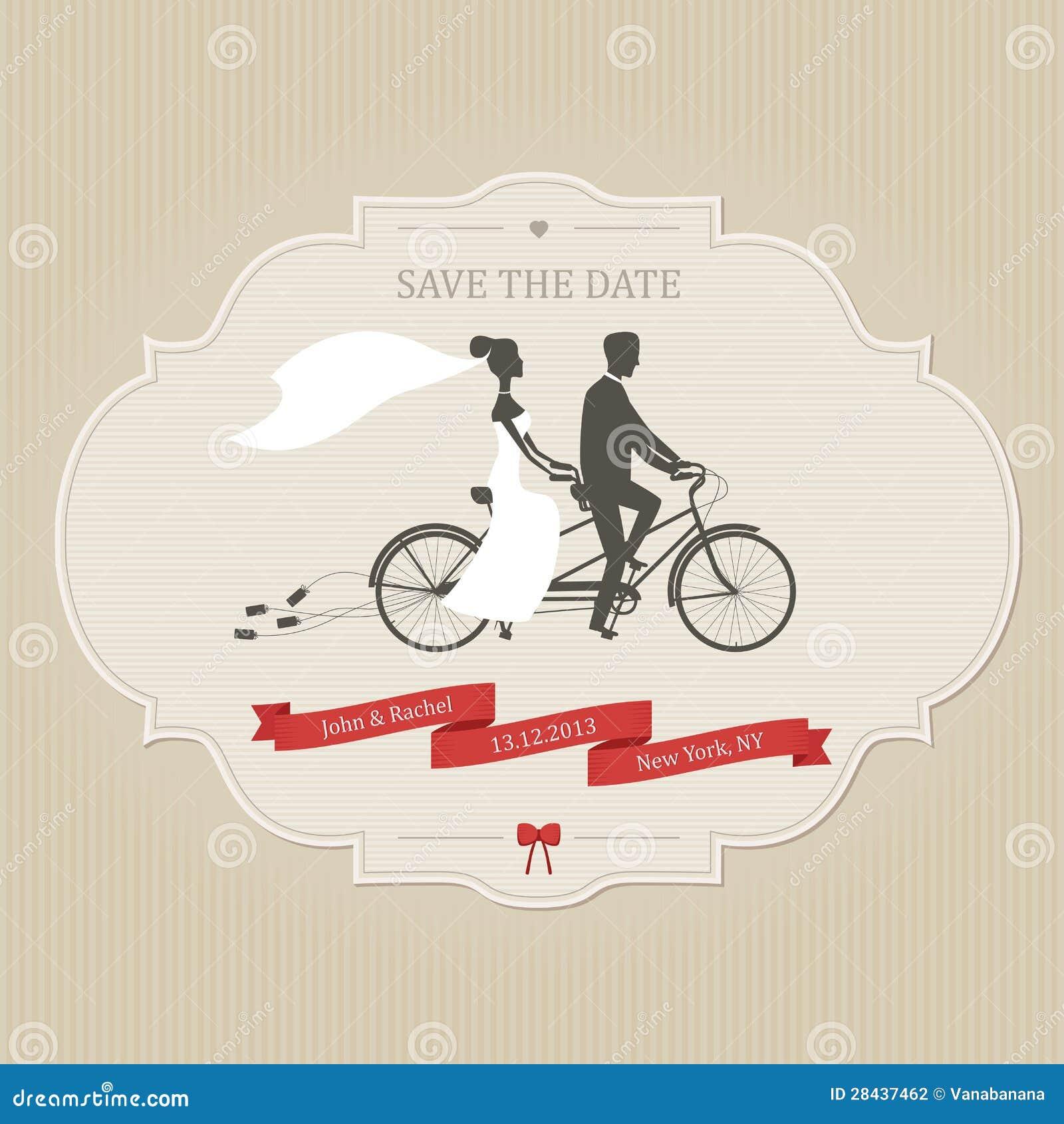 Rolig bröllopinbjudan med bruden och den tandema cykeln för brudgumridning