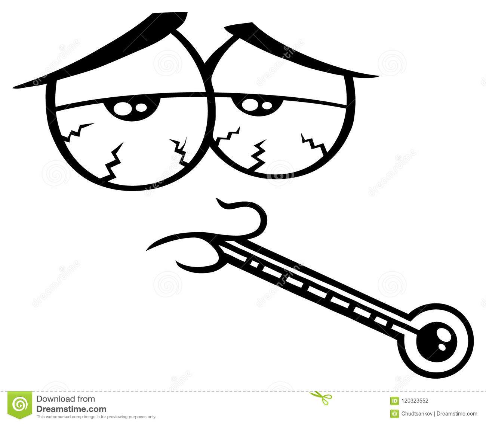 Rolig framsida för svartvit sjuk tecknad film med trött uttryck och termometern