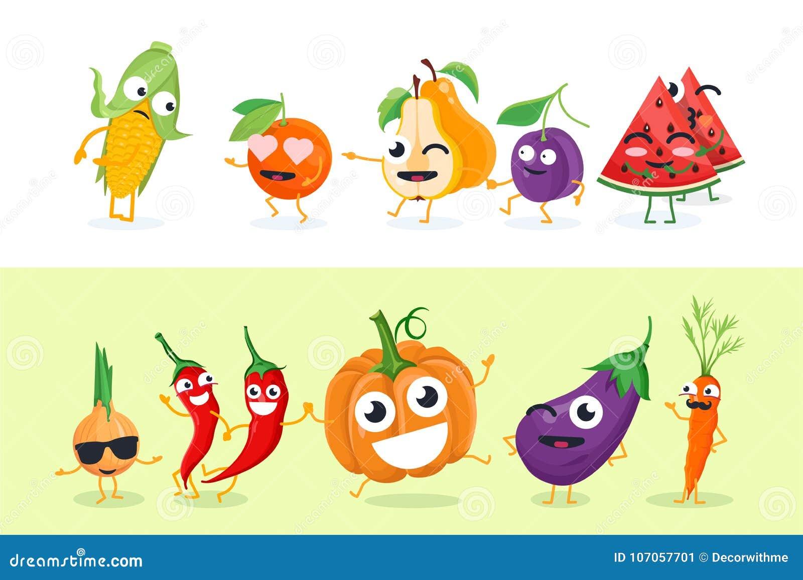Rolig frukt och grönsaker - uppsättningen av vektorn isolerade teckenillustrationer