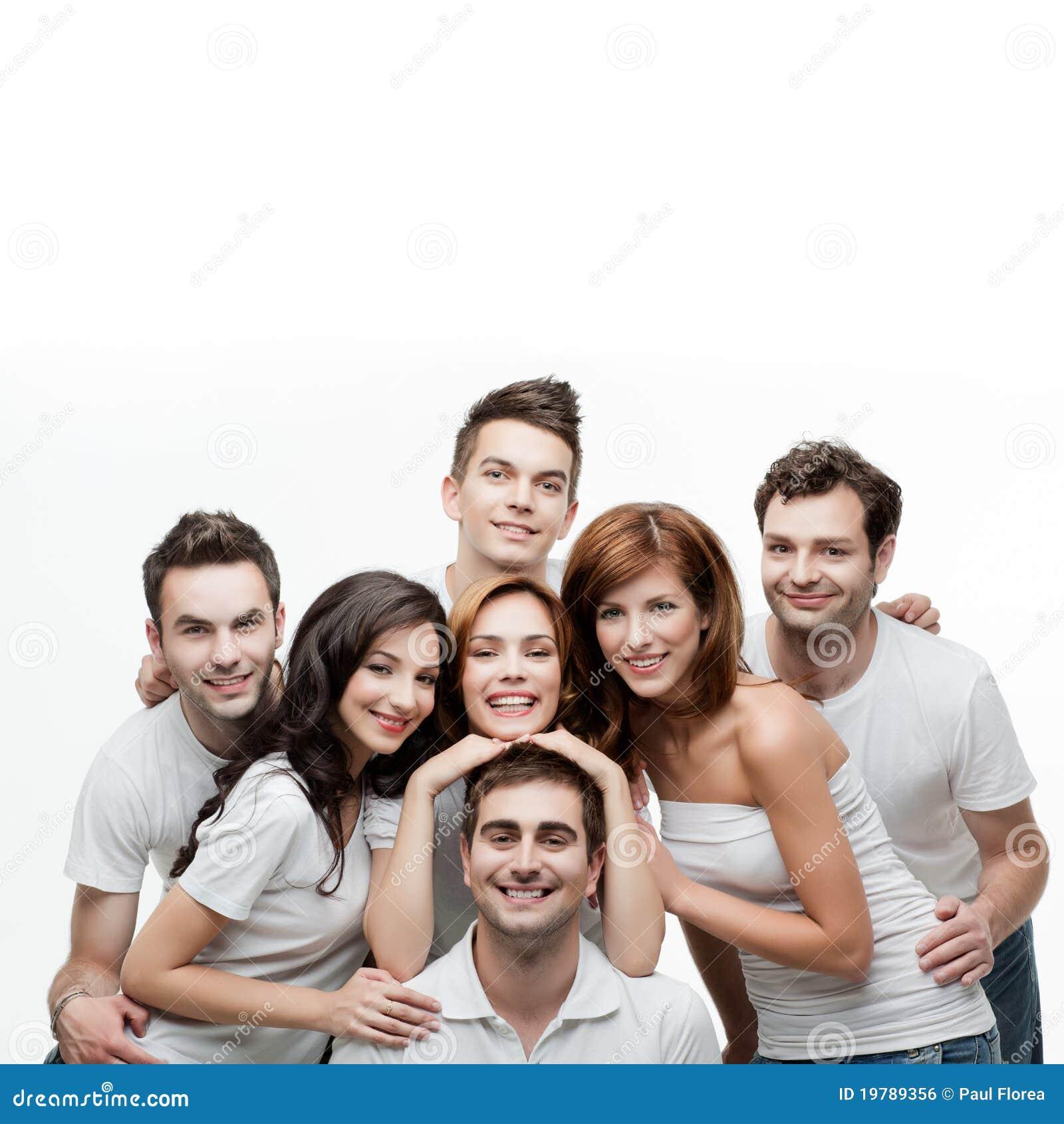 Rolig grupp för vänner som har folk