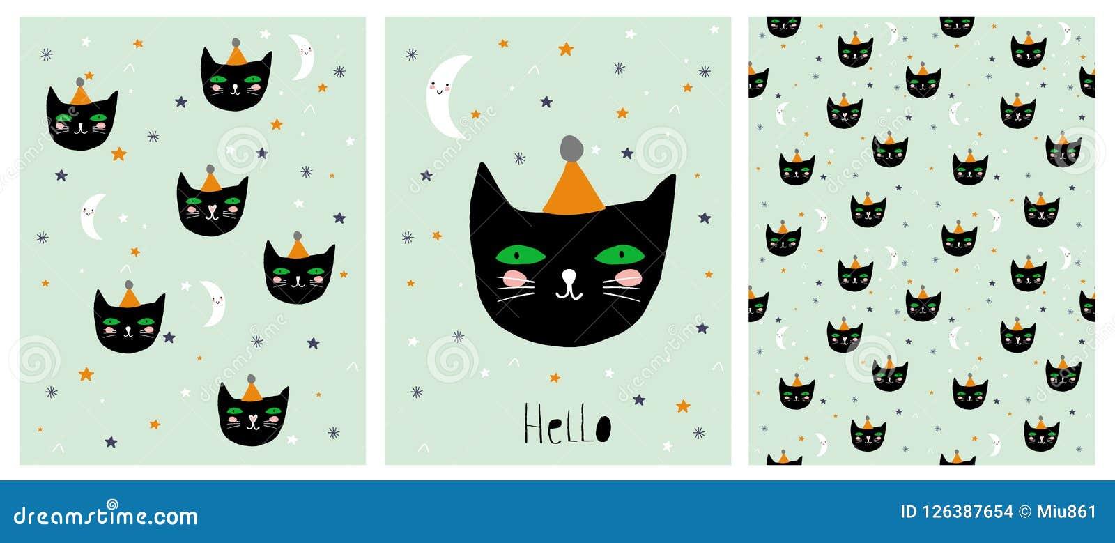 Rolig hand drog svarta Cat Vector Illustration Set