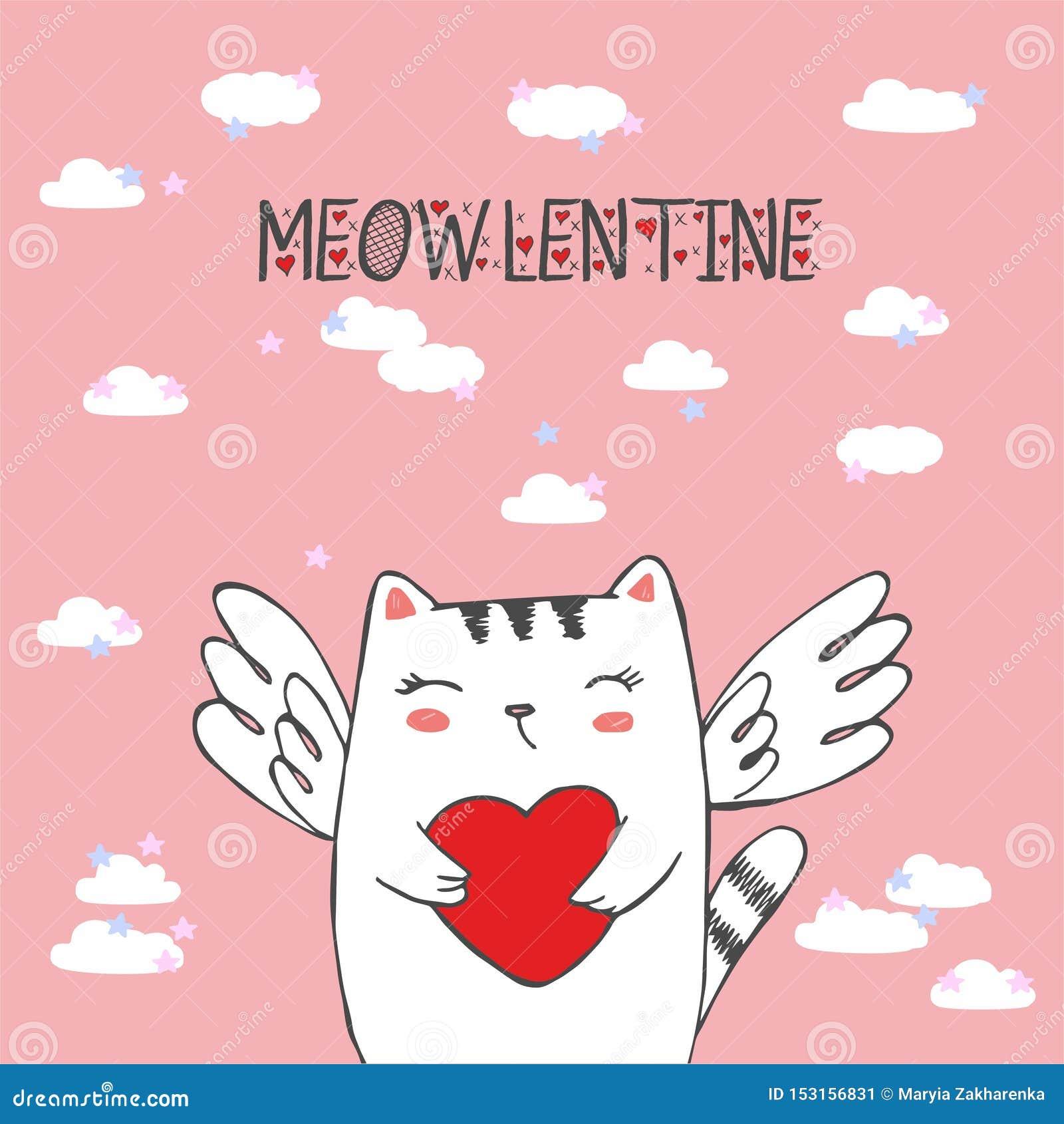 Rolig liten kattkupidon med hjärta Illustration av en valentindag CAT ANGEL Vektorillustration i en tecknad filmstil isolerat