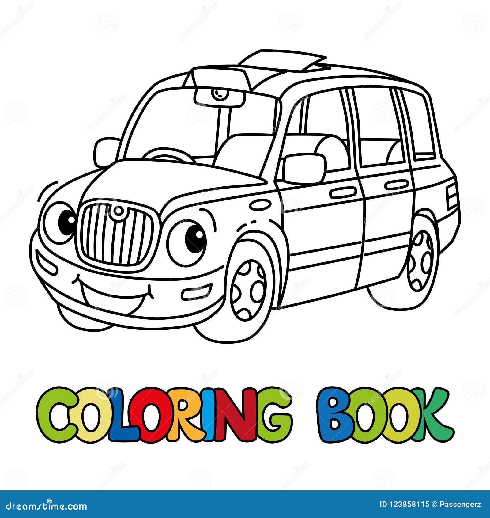 Rolig liten taxibil eller London taxi för färgläggningdiagram för bok färgrik illustration