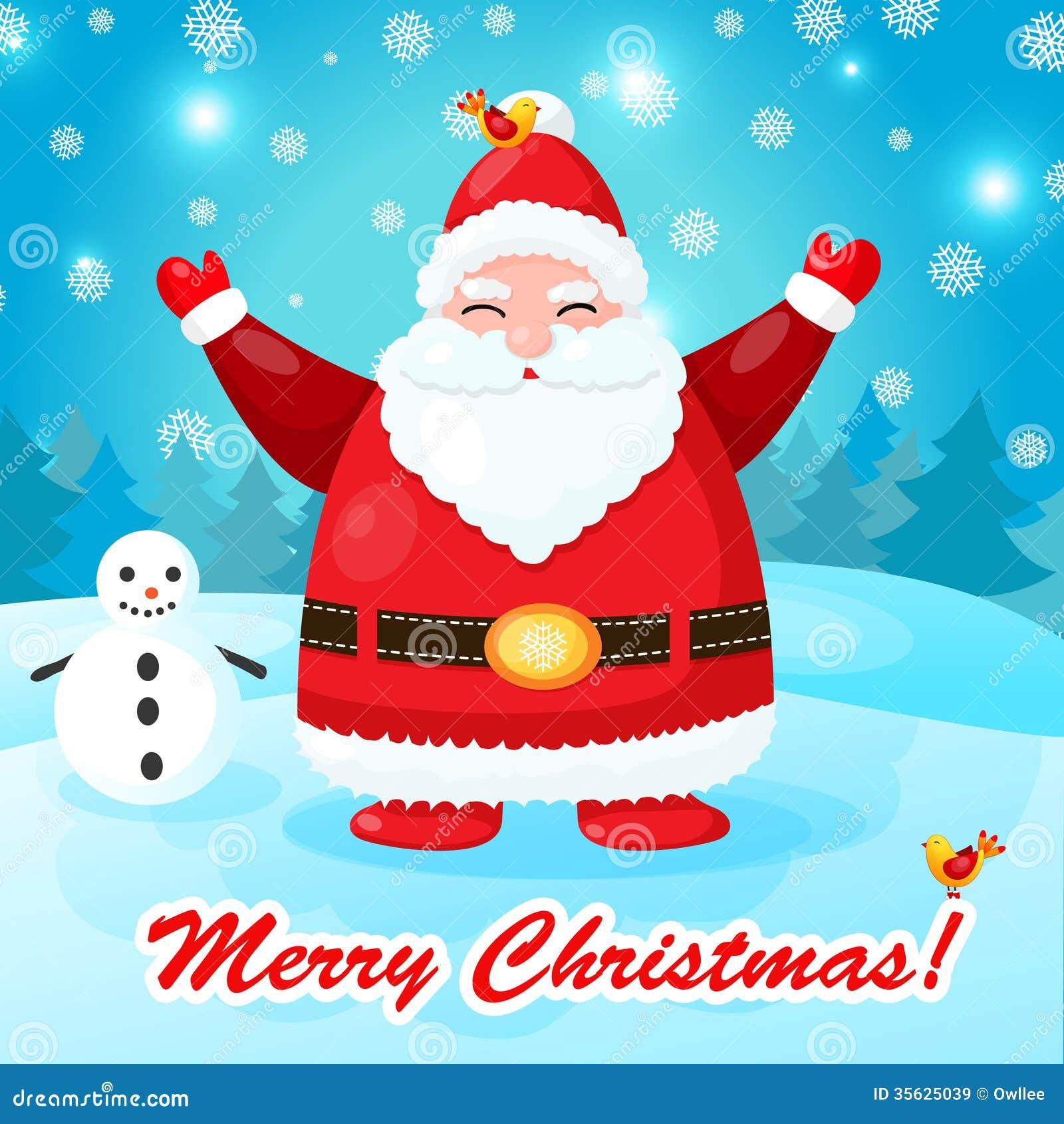 Rolig och gullig julkort med jultomten