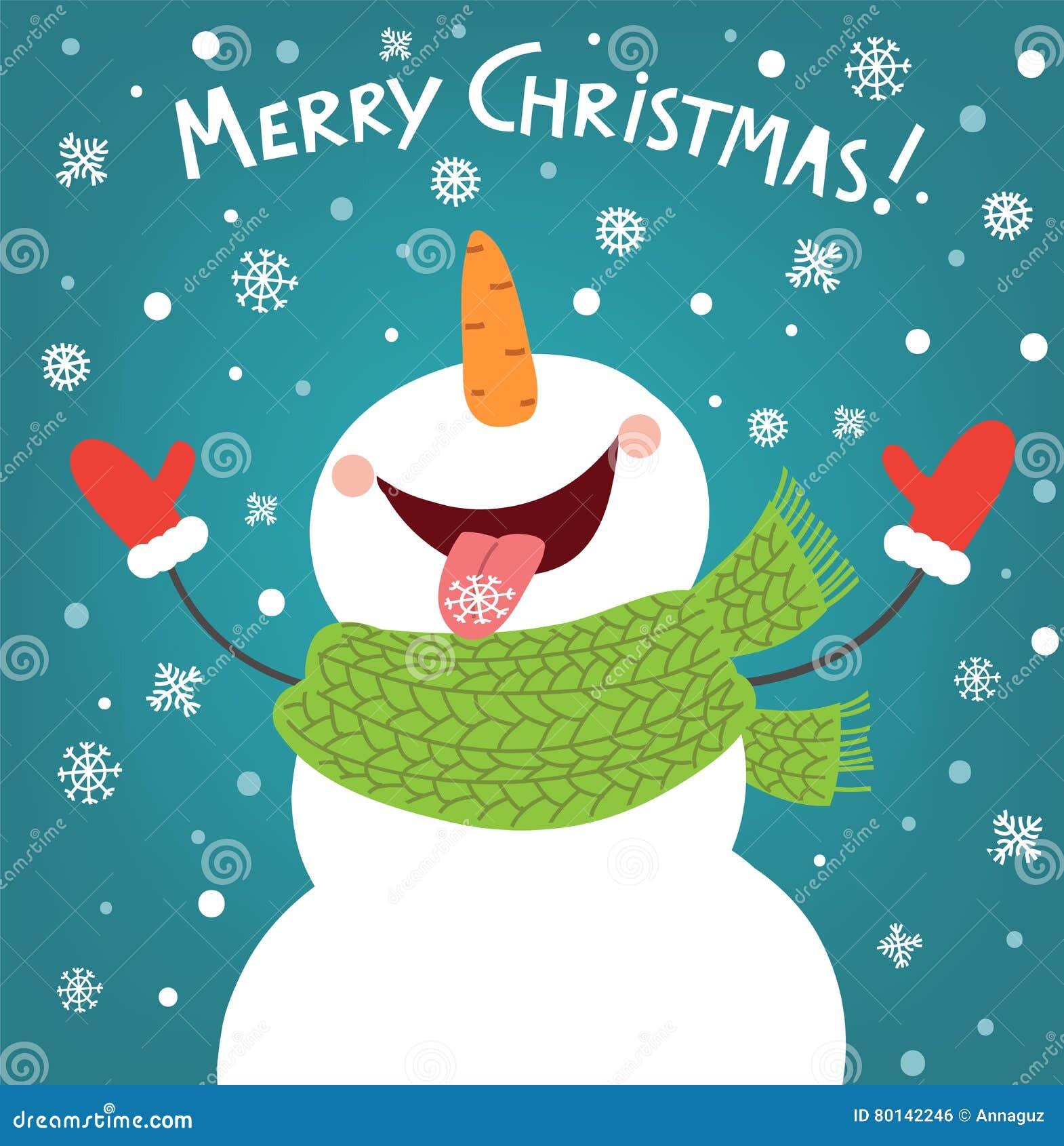 Rolig snögubbe som tycker om snöflingorna card den jul räknade treen för snowmanen för snow för illustrationbergnatten