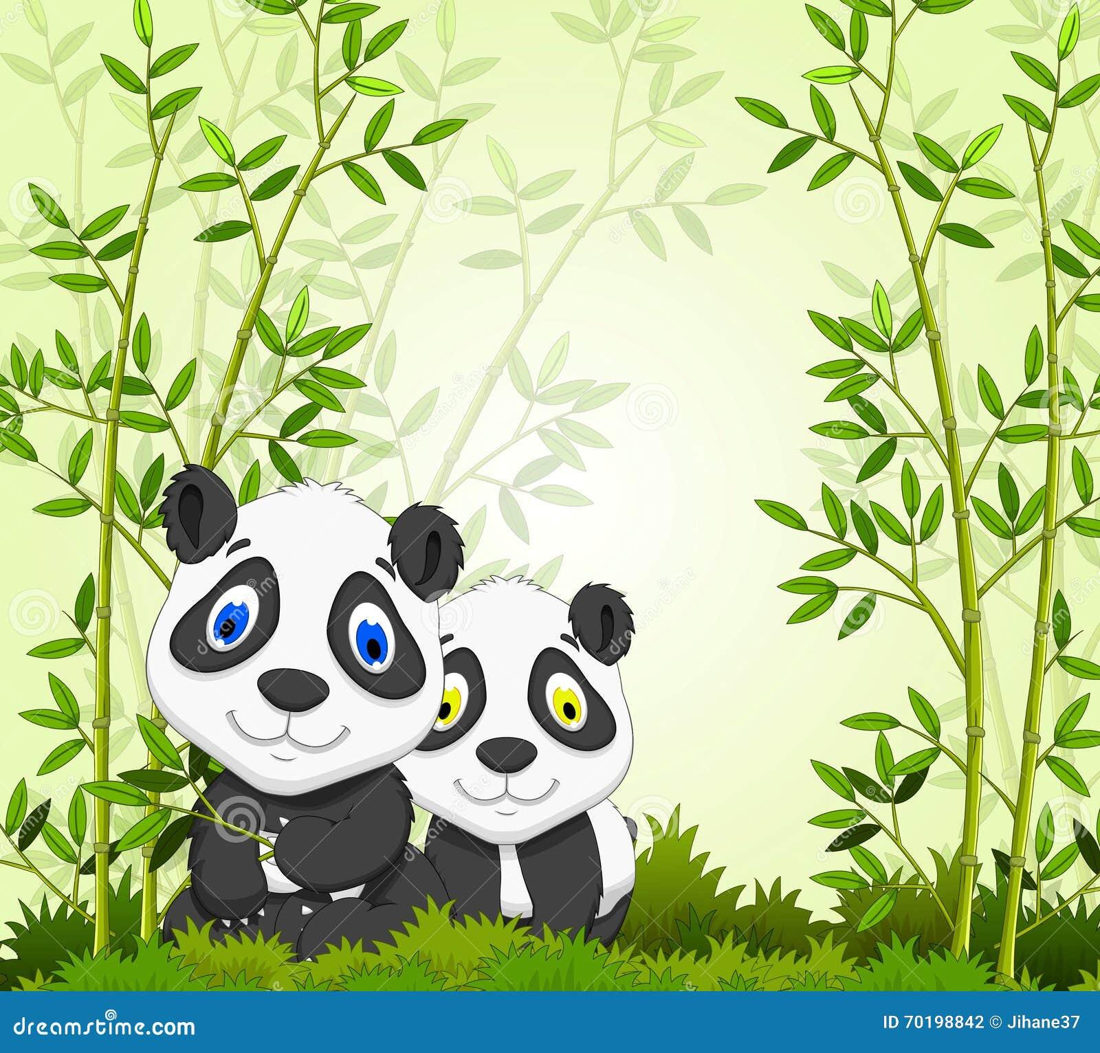 Rolig tecknad filmpanda med bambuskogbakgrund