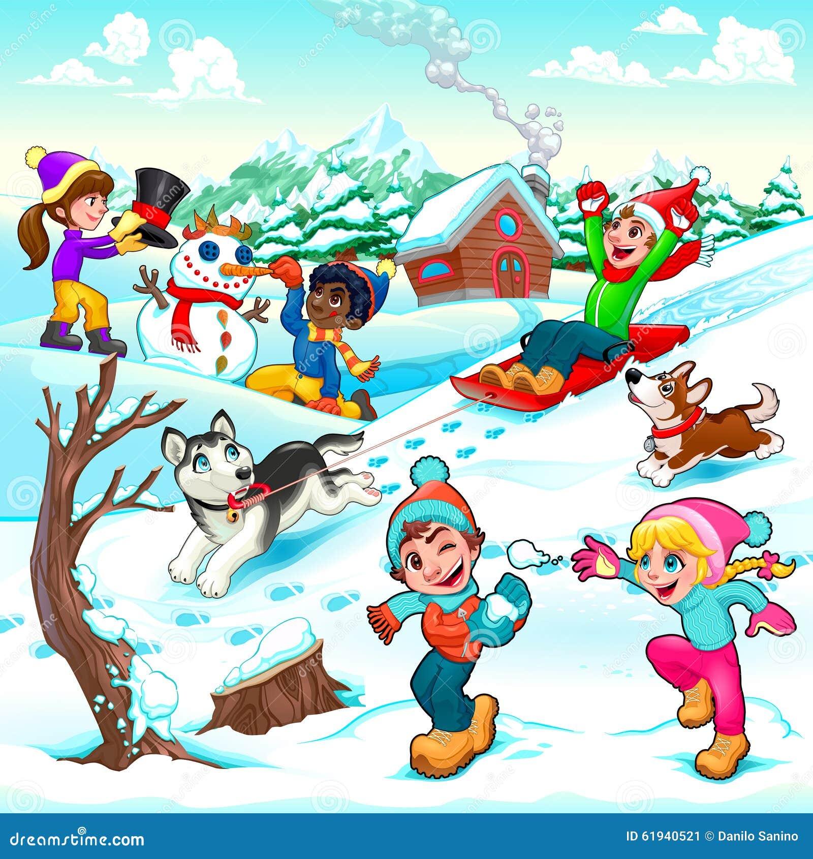 Rolig vinterplats med barn och hundkapplöpning