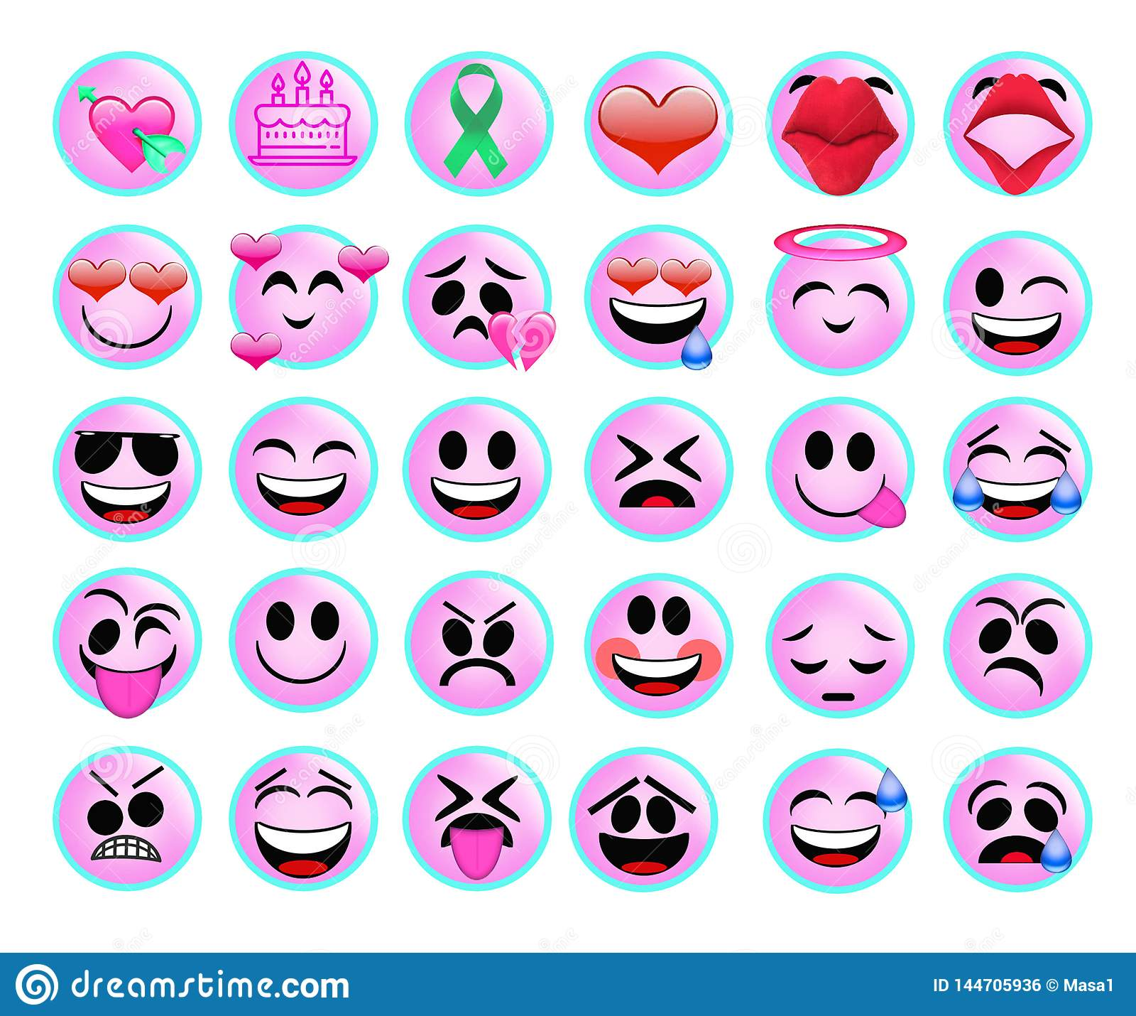 Roliga emojisymboler ställde in för rengöringsduk på vit bakgrund