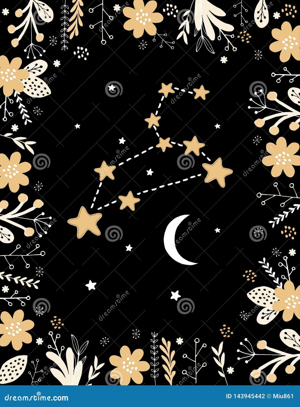 Roliga enkla Pale Yellow Leo Vector Sign Blom- ram, vit måne och stjärnor