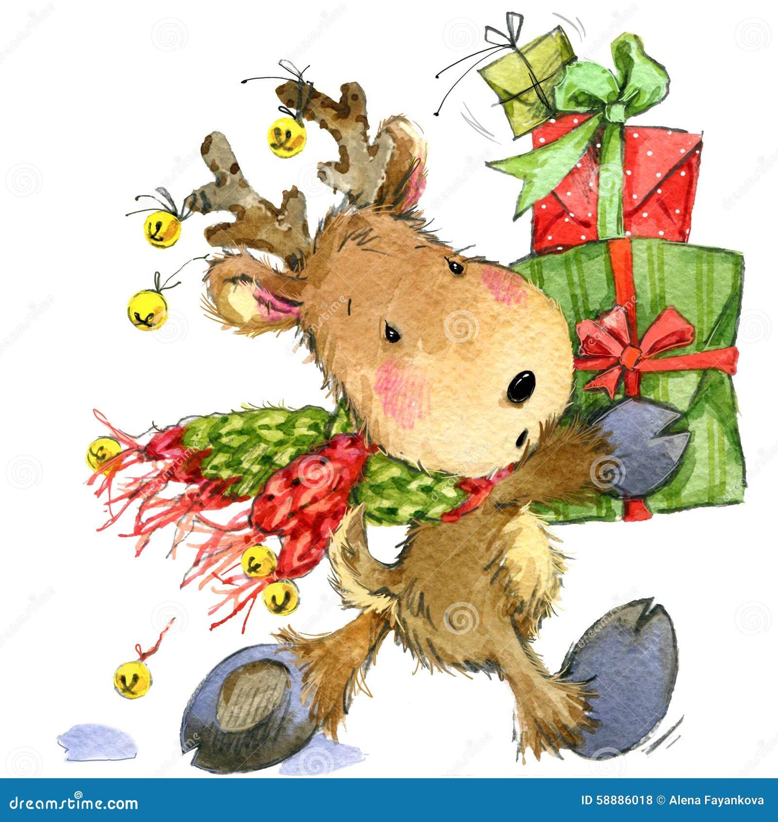 Roliga hjortar Santa Claus för flygillustration för näbb dekorativ bild dess paper stycksvalavattenfärg
