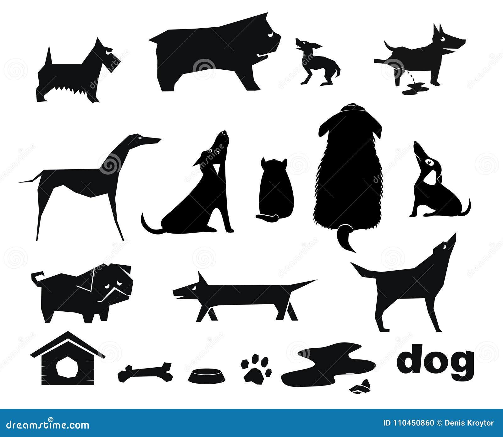 Roliga silhouettes för hund