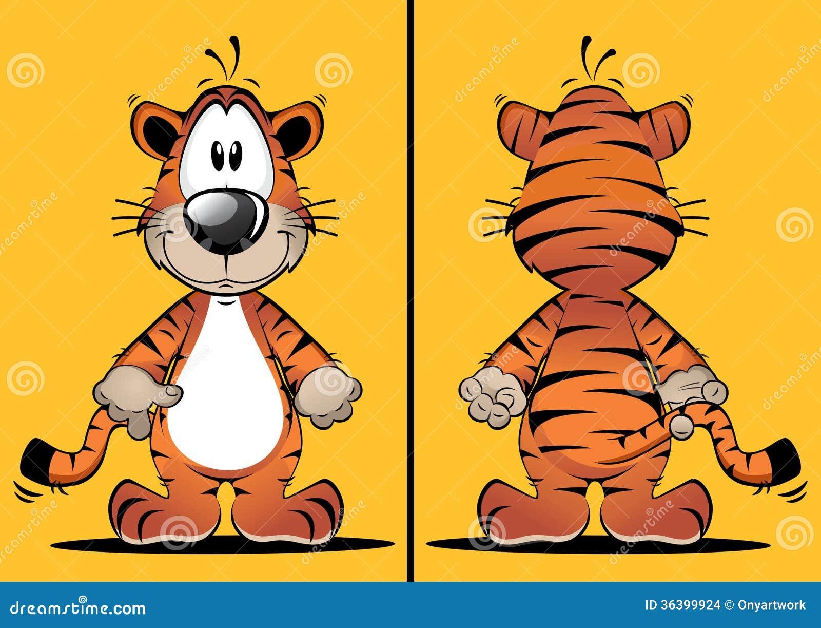 Roliga Tiger Cartoon Mascot