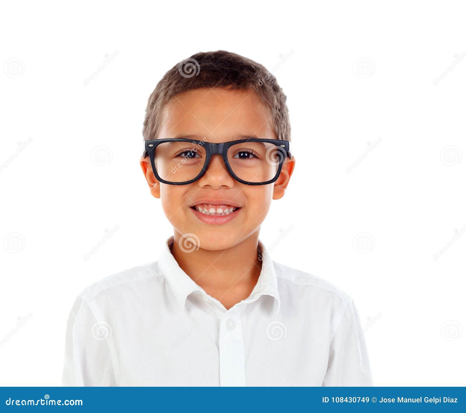 Roligt barn med stort skratta för exponeringsglas