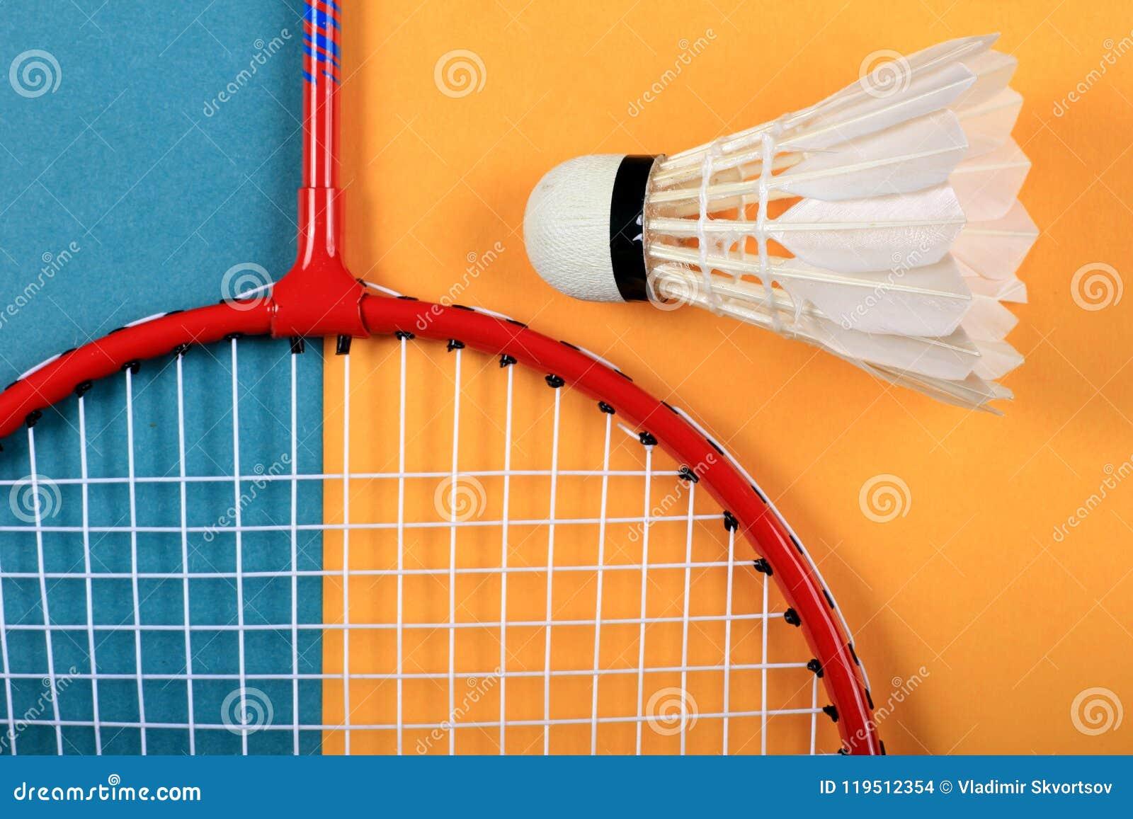 Roligt minsta begrepp för sommar Bästa sikt på badmintonracket och fjäderboll
