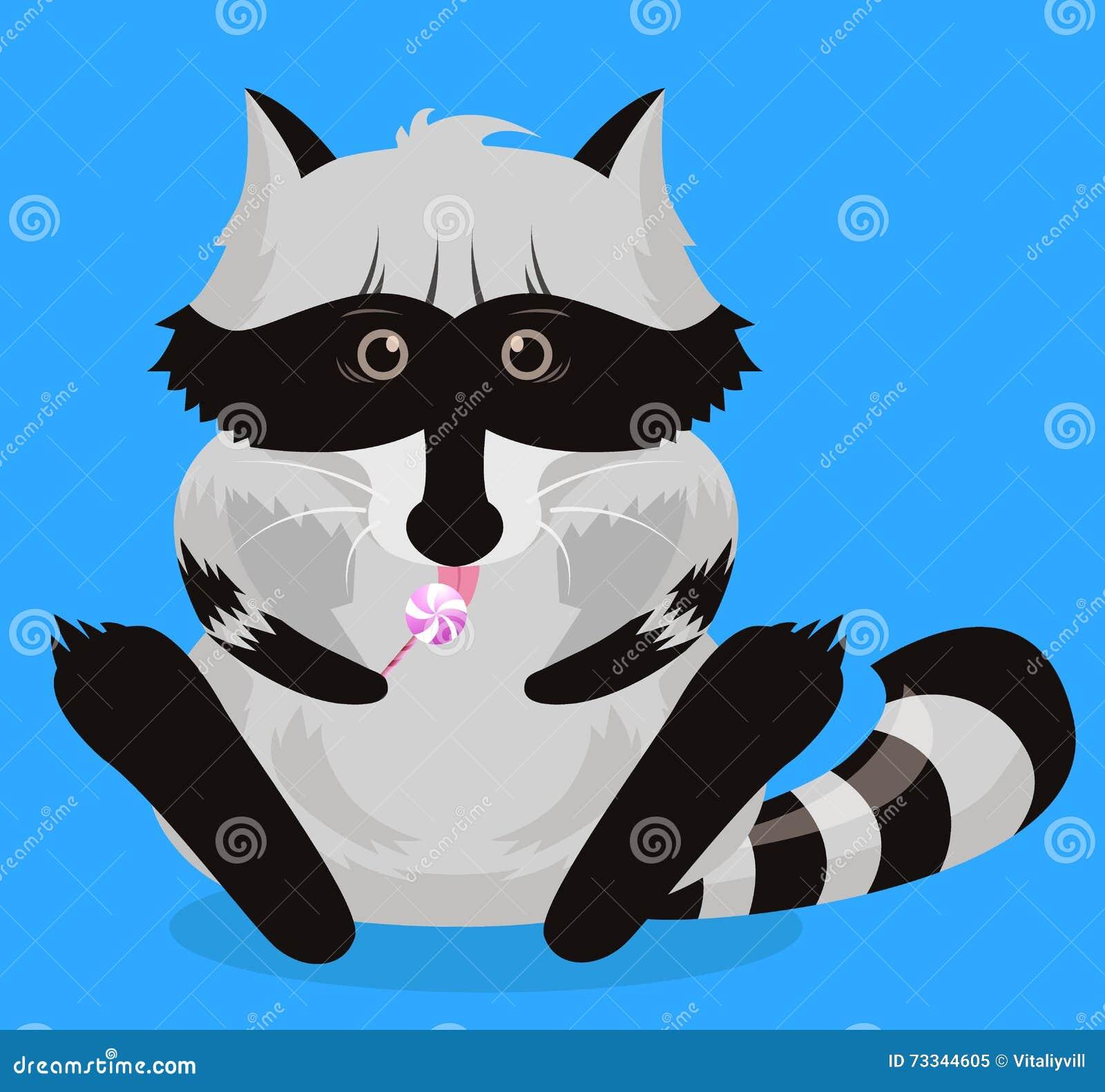 Roligt tvättbjörnvektortecken Gulligt för djurlivtecknad film för djur natur isolerat husdjur Charmigt humoristiskt