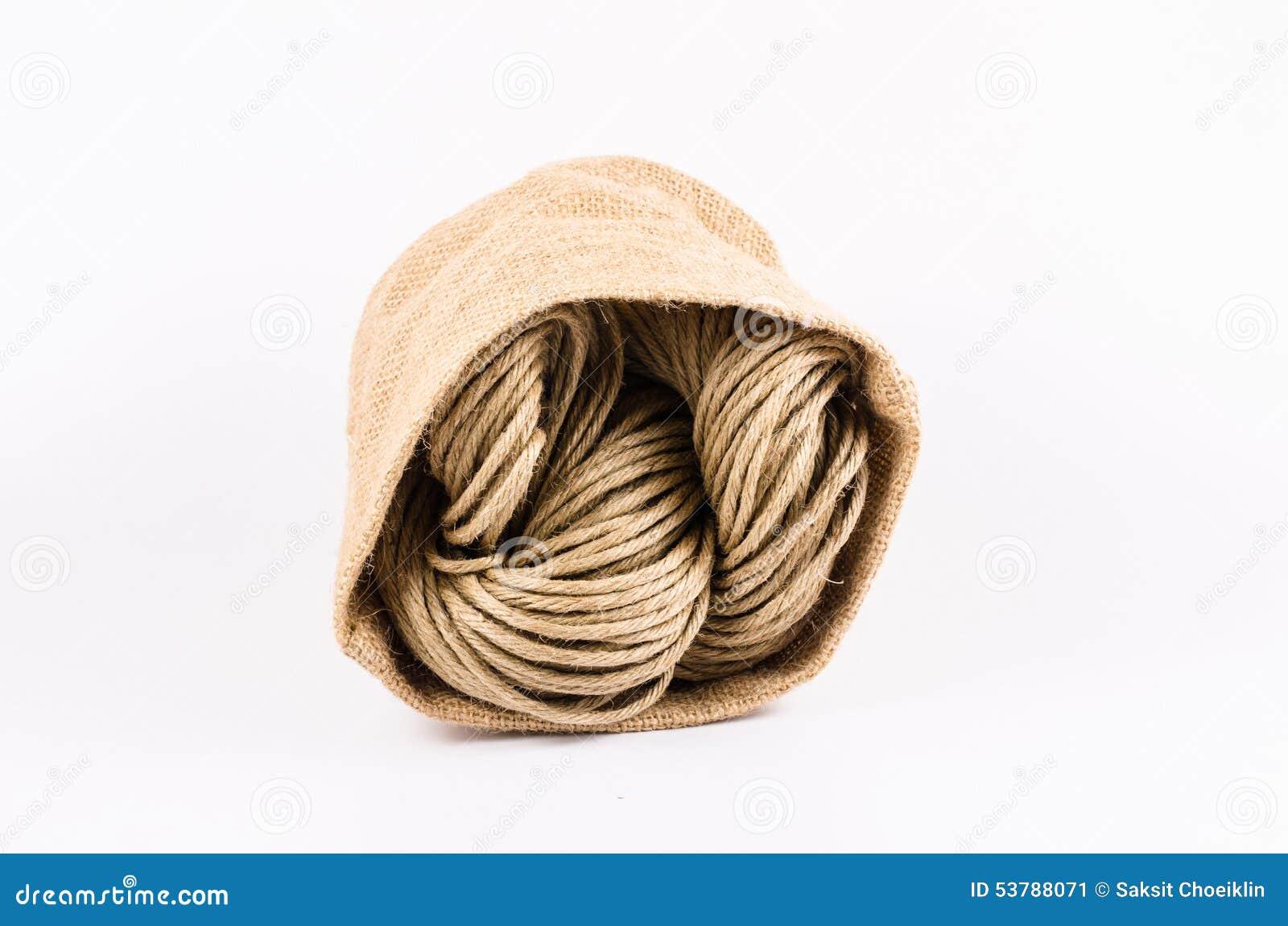 Rolka linowa tekstura, burlap odizolowywający na białym tle