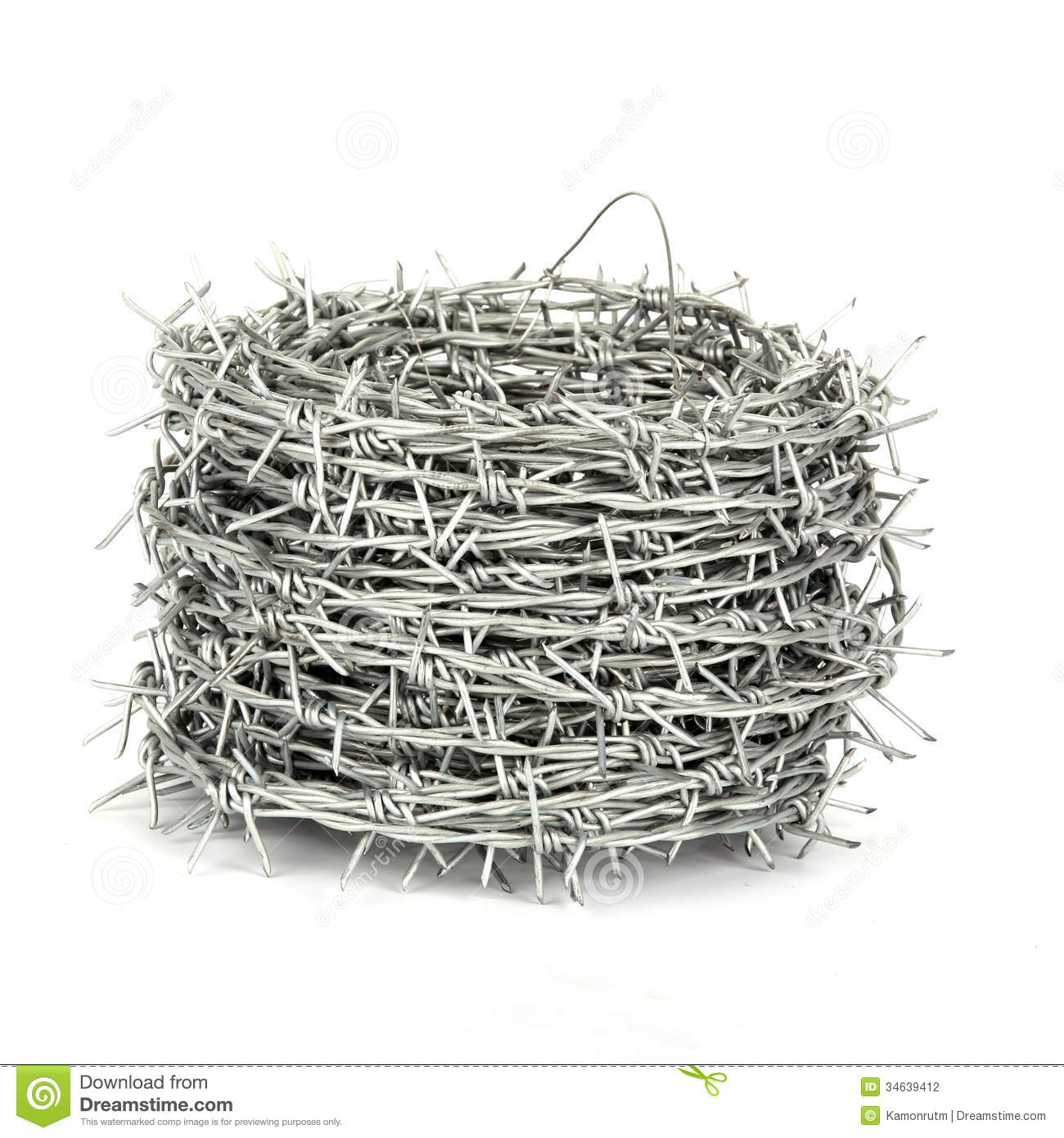 A roll of barbed wire stock photography image