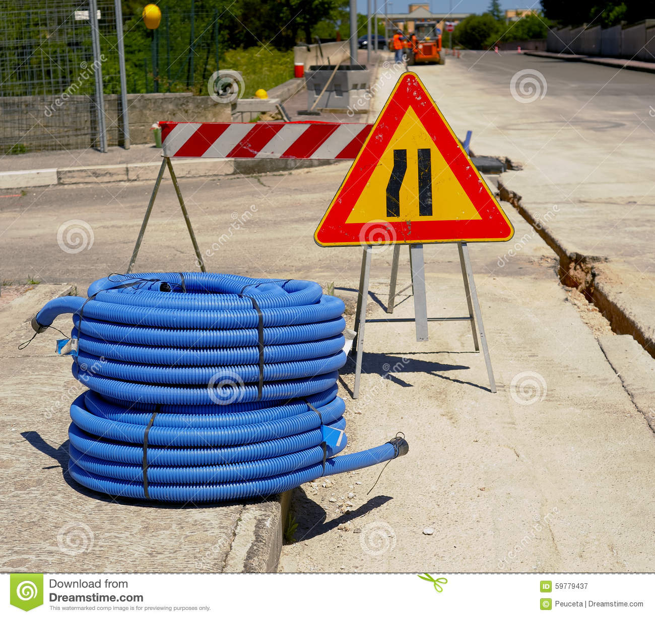Roll of corrugated conduit stock image  Image of canal