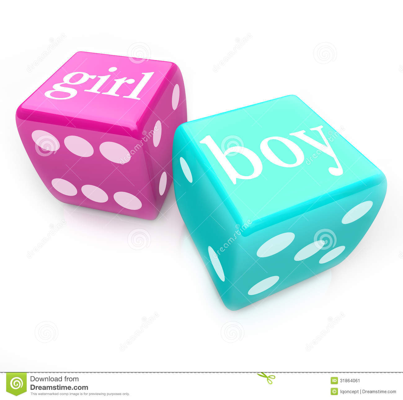 roll the dice deliver boy or girl baby in pregnancy stock