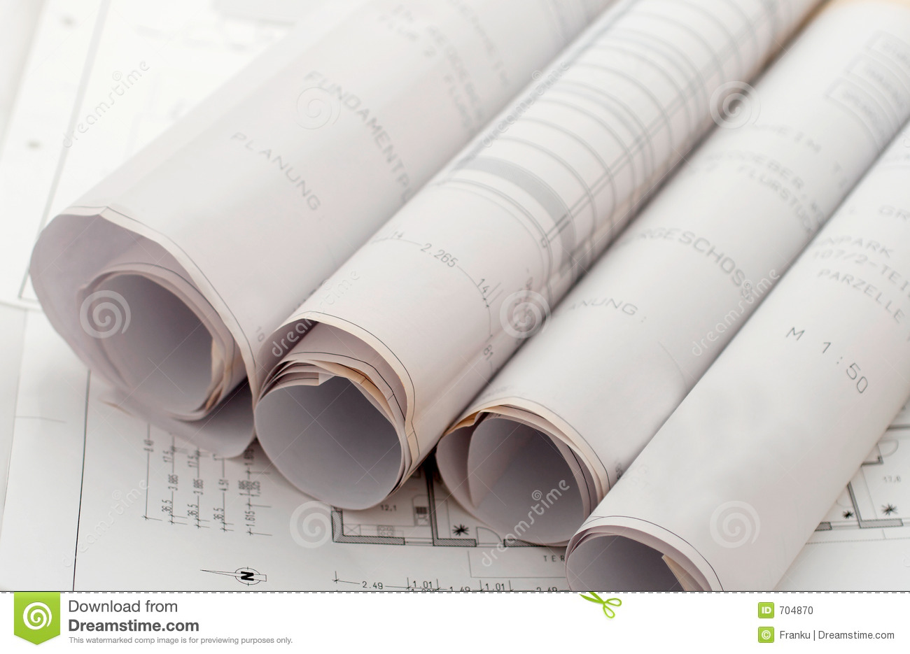 Roll Drawing Plans Stock Image