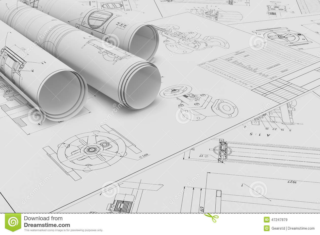 Roll And Flat Technical Drawings Stock Illustration