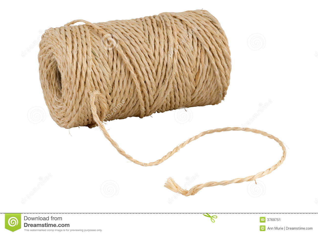 Roll Of Hemp String Isolated On White Stock Image Image