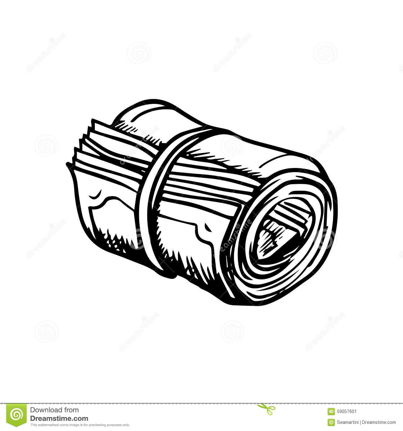 Line Drawing Money : Roll of money sketch icon stock vector illustration