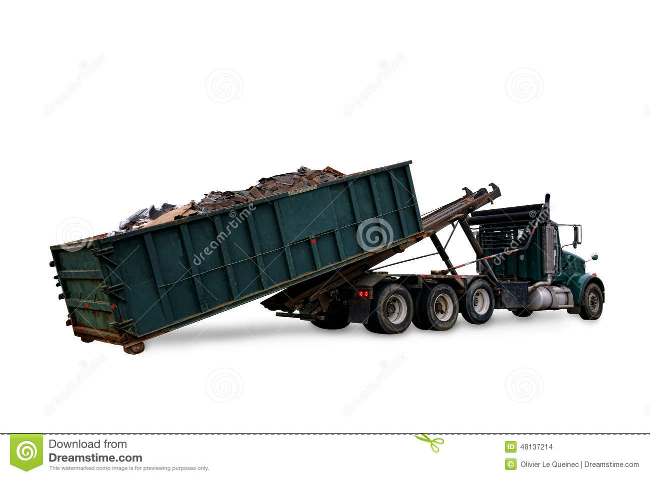 Roll Off Truck Loading Trash Container Dumpster Stock Photo - Image ...