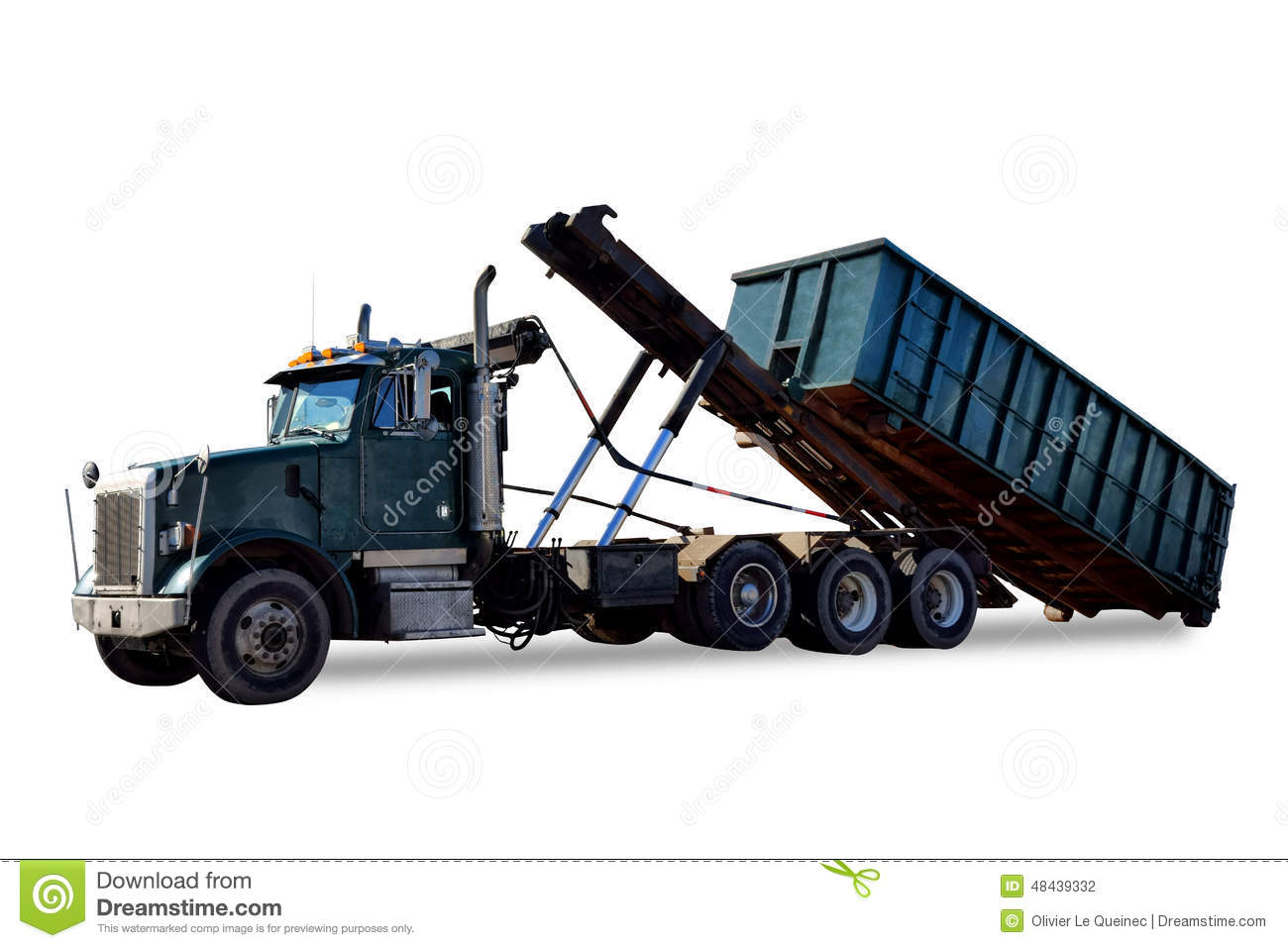 Roll off truck unloading trash container dumpster stock for Construction container