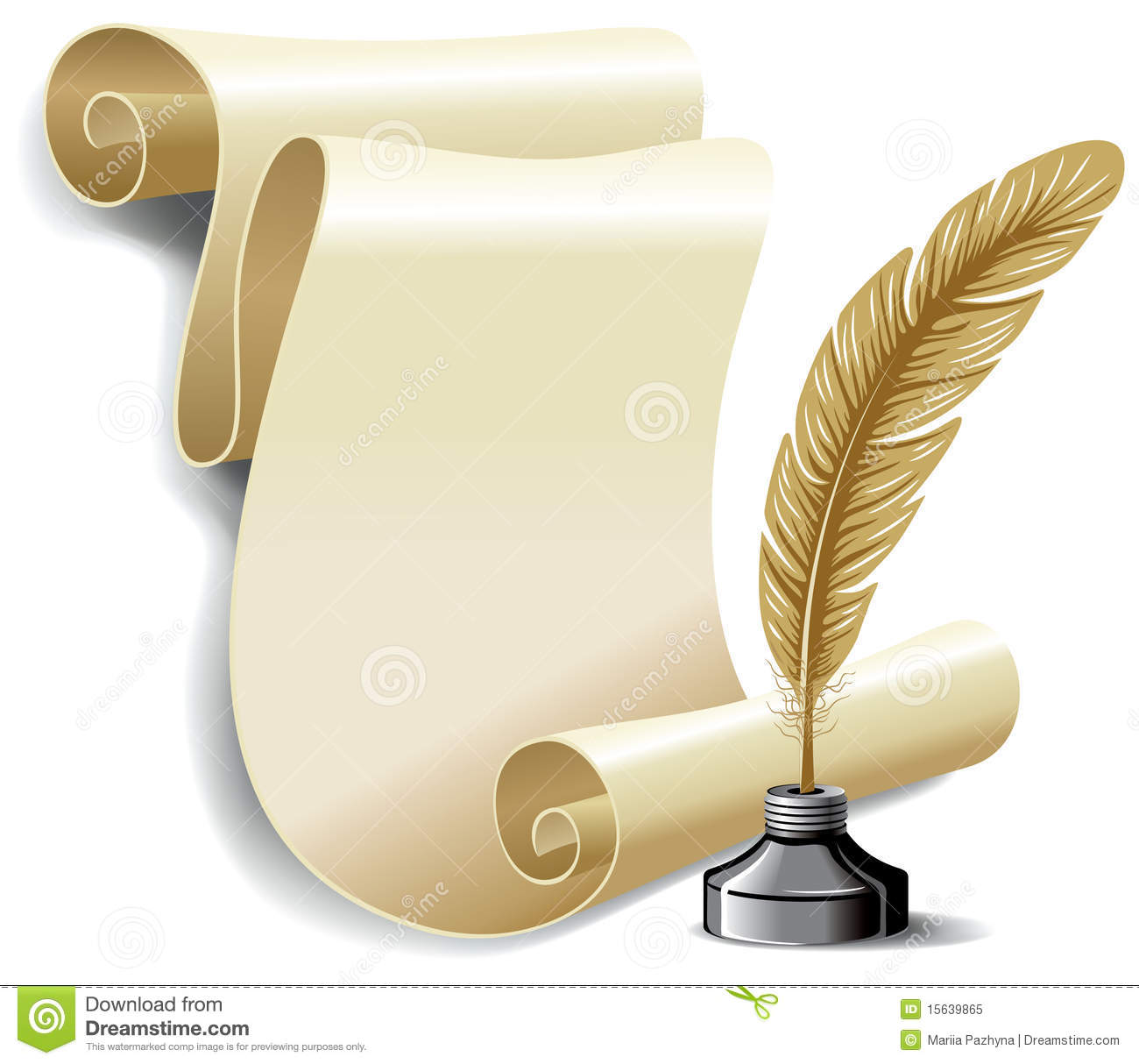 Roll Of Old Paper And Feather In The Inkwell Royalty Free Stock Photo ...