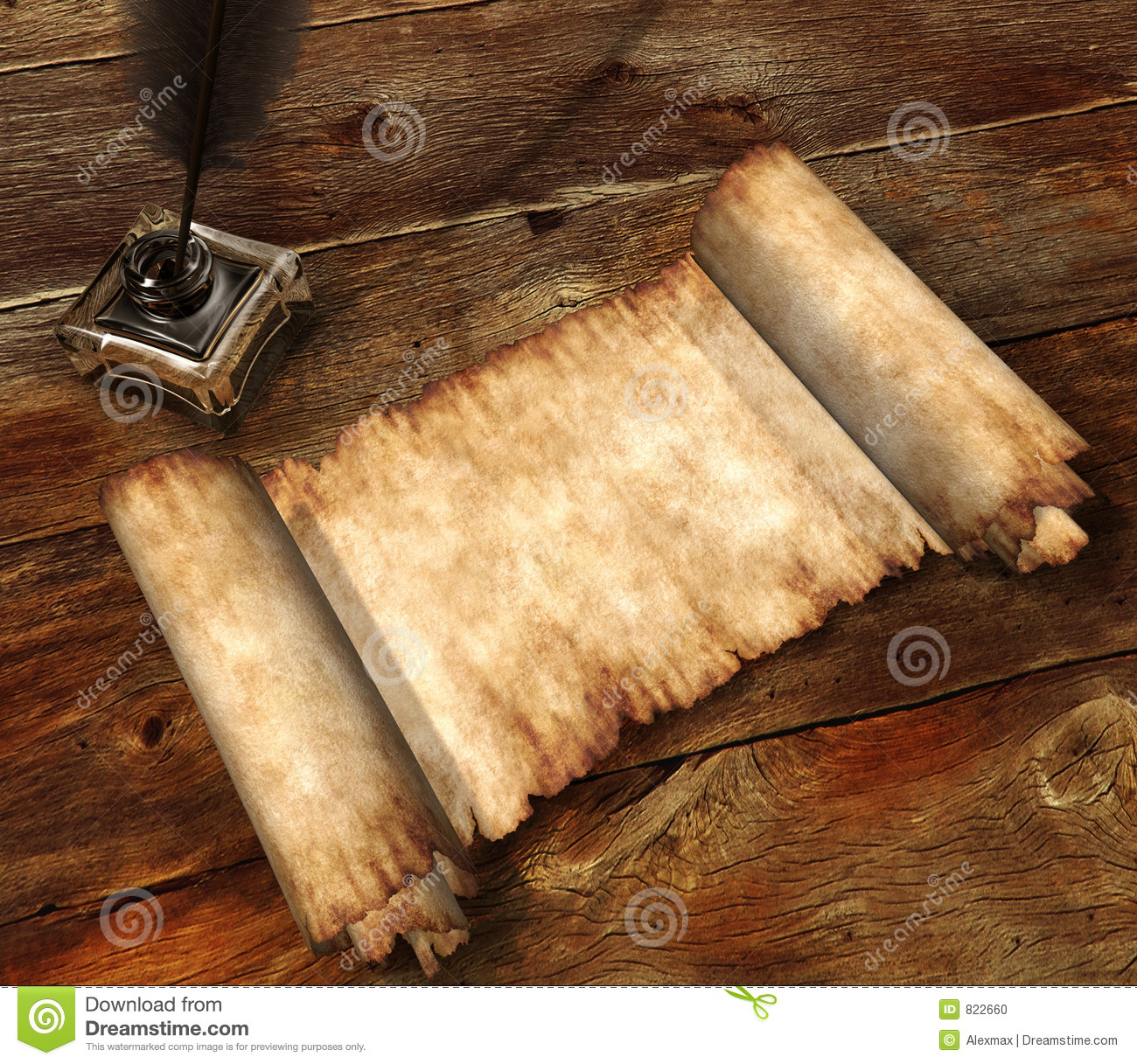Roll Of Parchment On Wooden Table 3d Still Life Stock