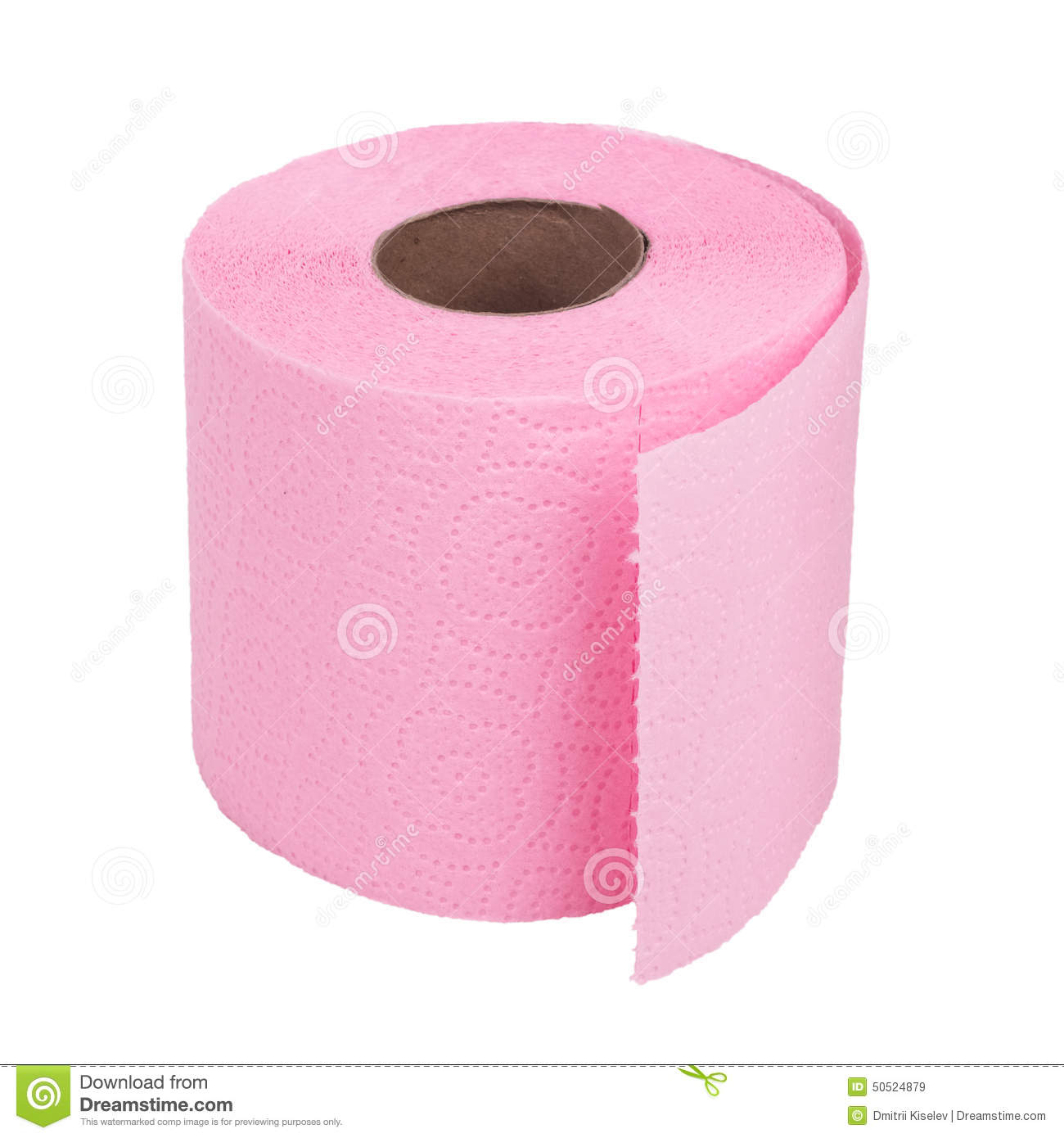 Roll Of Pink Toilet Paper On White Background Stock Photo