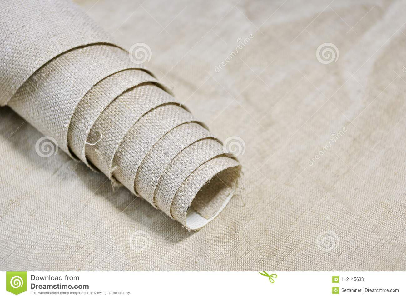 Roll Of Primed Canvas On Linen Light Canvas Stock Image - Image of