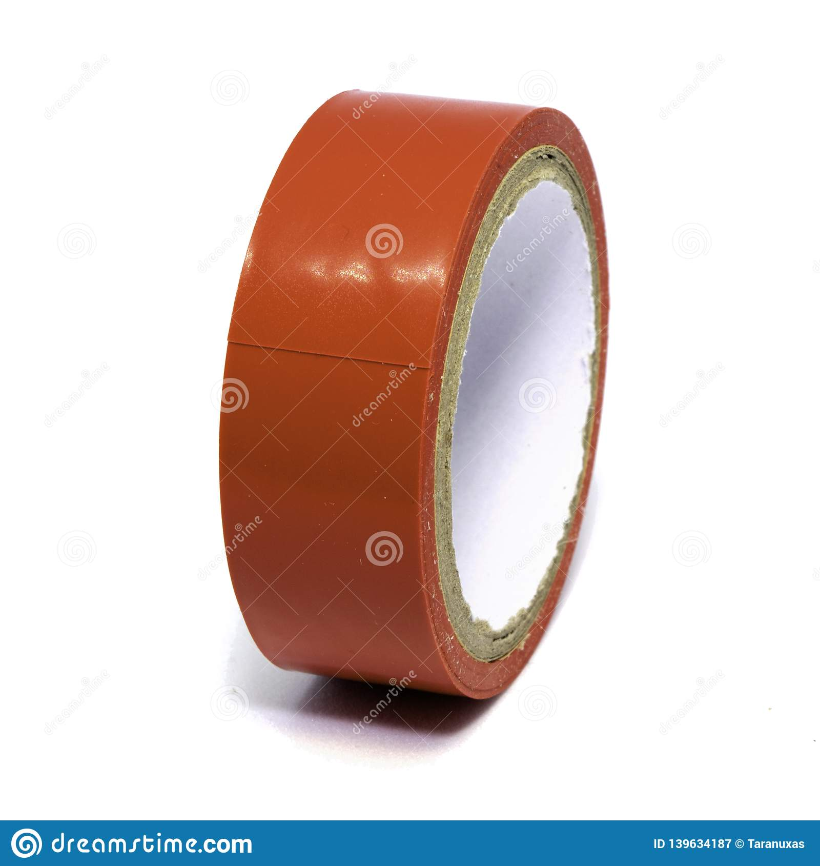 Roll of red plastic duct tape on white