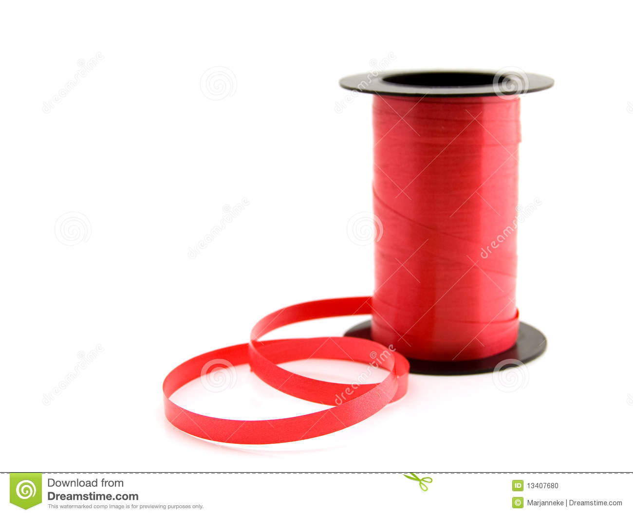 Roll Of Red Ribbon Stock Photo Image Of Silk White