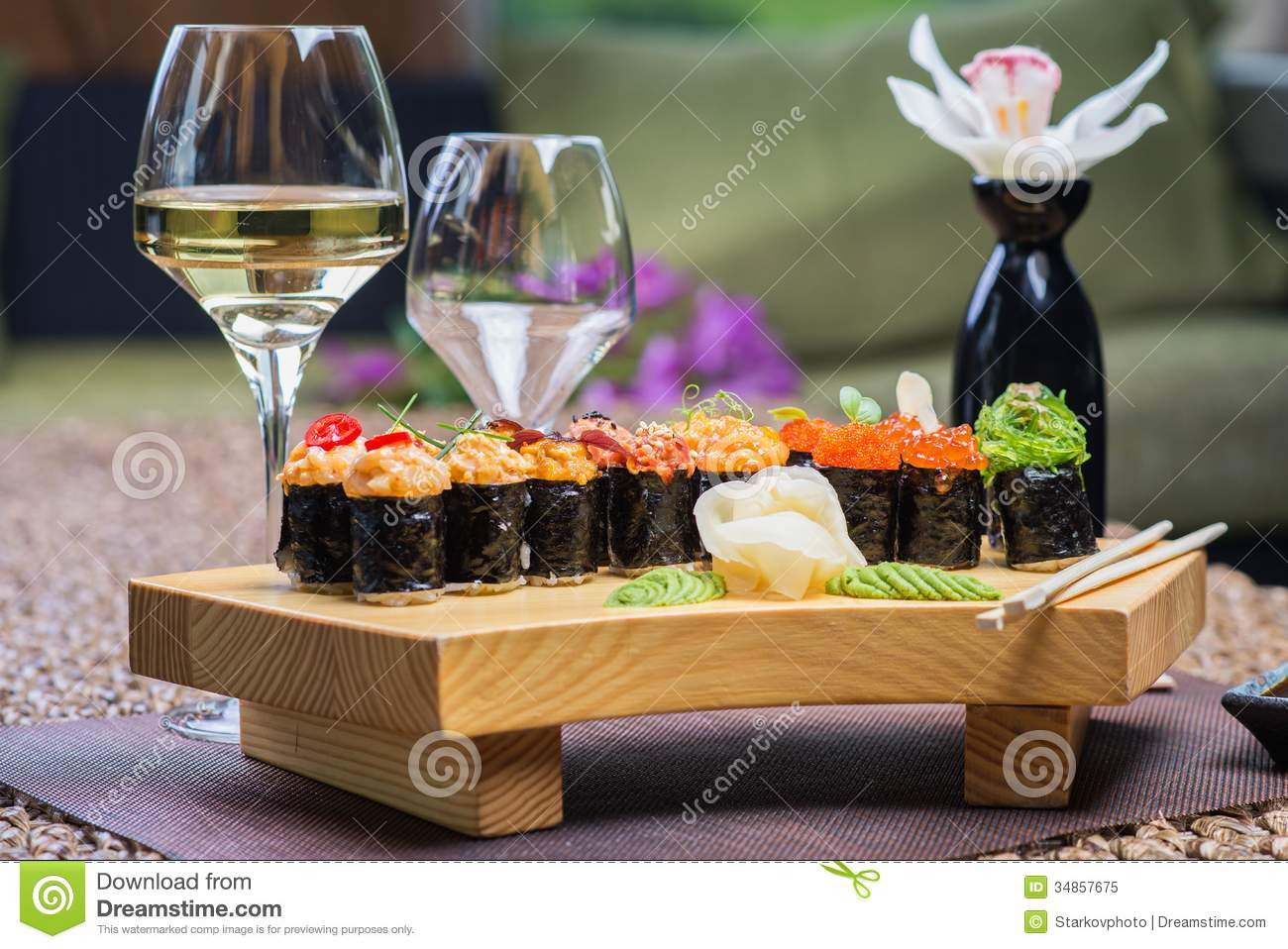 Roll set served on a wood plate royalty free stock photo