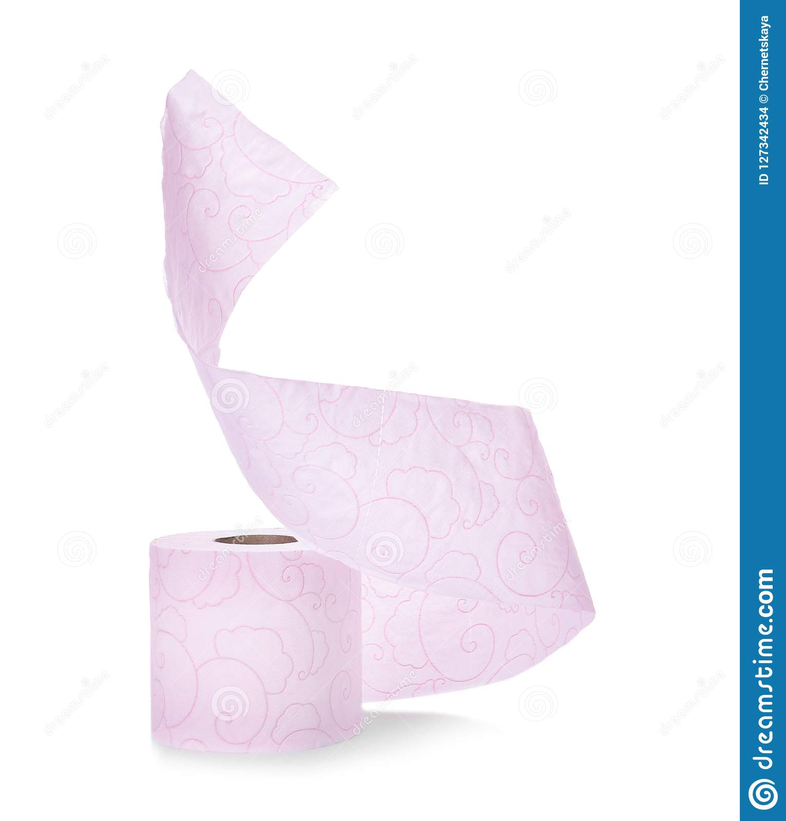 Roll of toilet paper on white background.