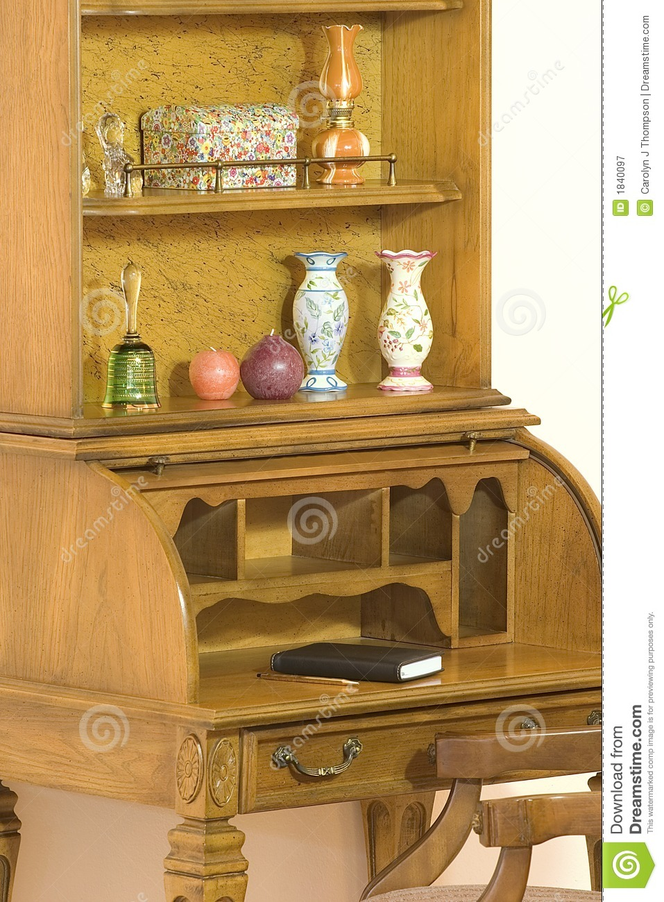 Roll Top Desk With Hutch Stock Image Image Of Bell