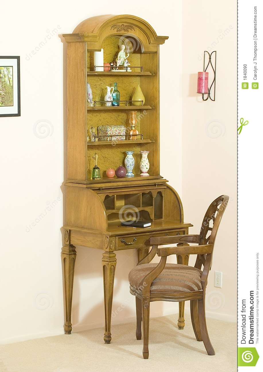 Roll Top Desk With Hutch Open Stock Photo Image Of Chair Pigeon