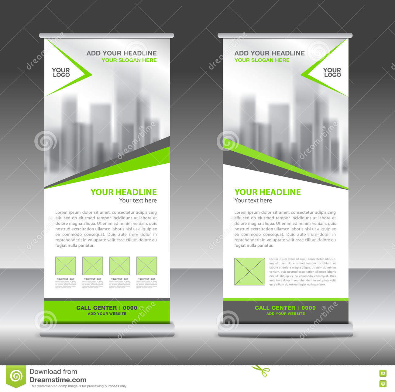 Green roll up business brochure flyer banner design vertical template - Roll Up Banner Business Brochure Flyer Banner Design