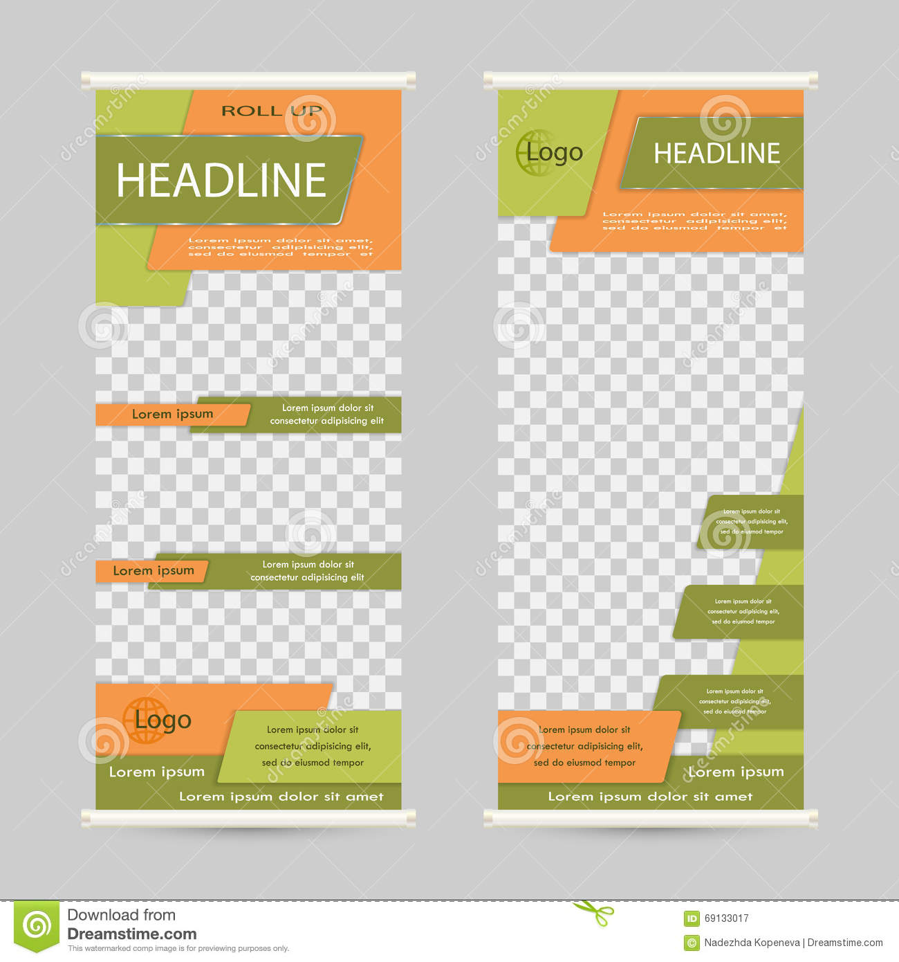 Green roll up business brochure flyer banner design vertical template - Roll Up Banner Stand Design Royalty Free Stock Photography