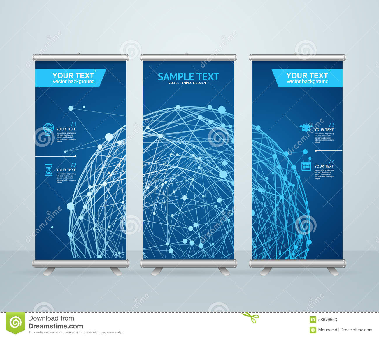 roll up banner stand design vector stock vector  image: 59004777