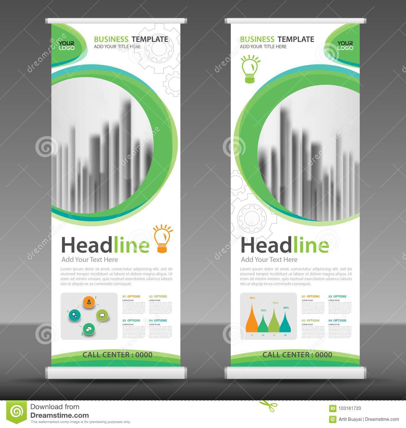roll up banner stand template design stock vector illustration of