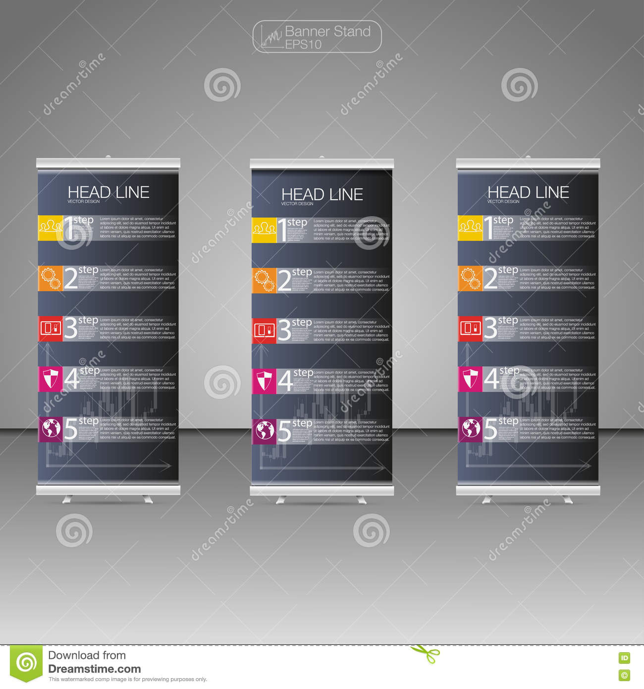 roll up banner stand, template and info graphics, banner