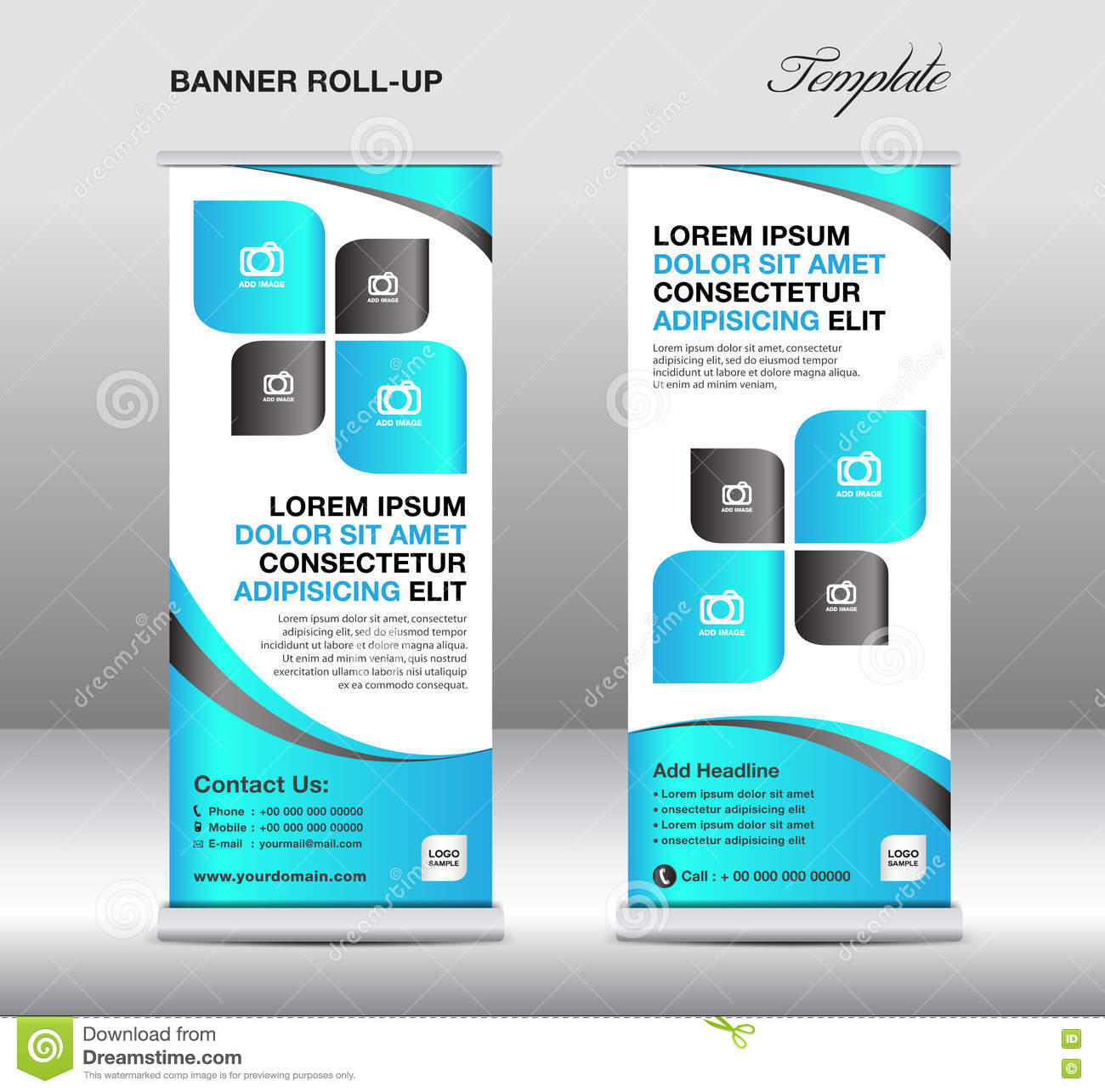 Blue Roll Up Banner Stand Template, Stand Design,banner Template ...