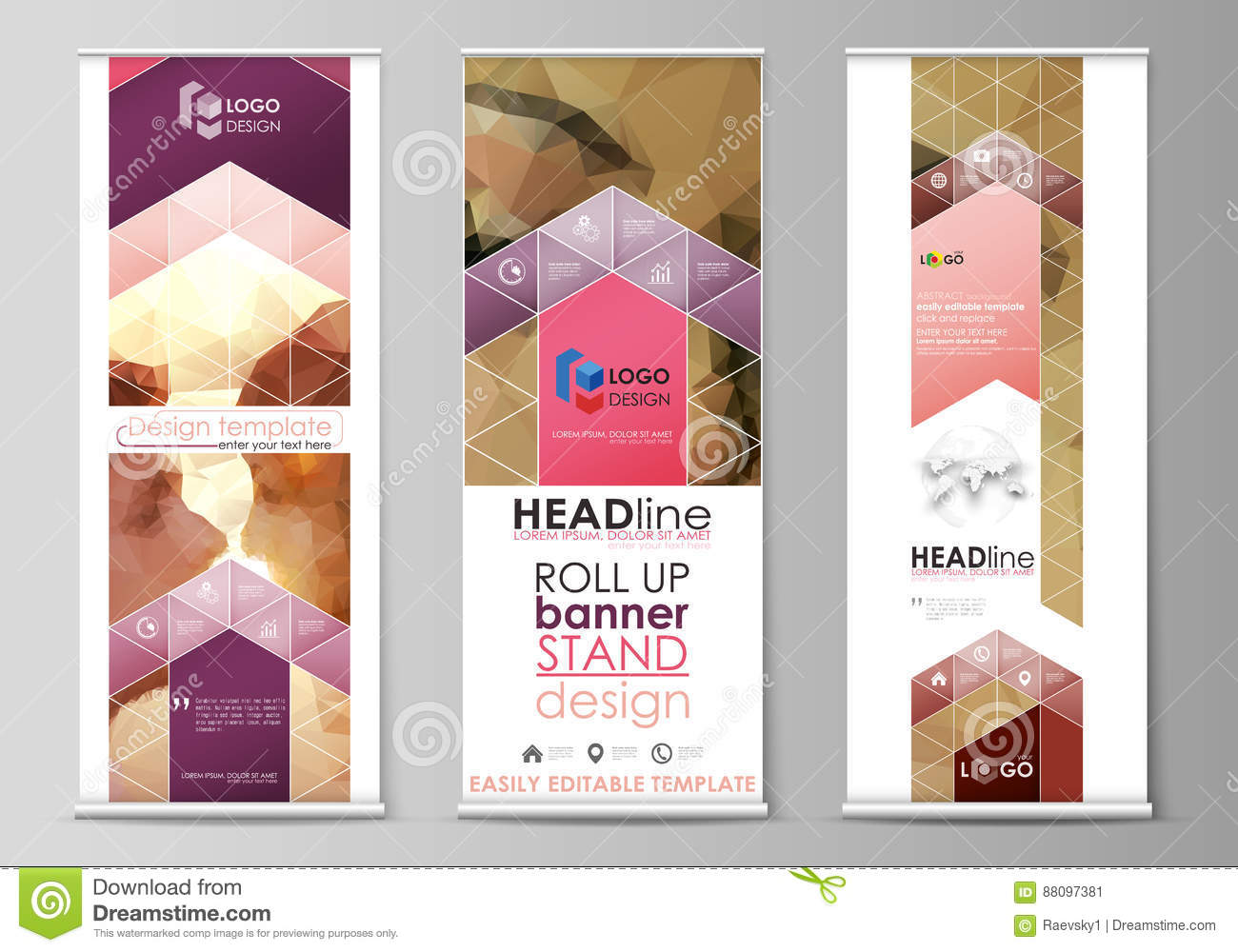 roll up banner stands abstract geometric design templates