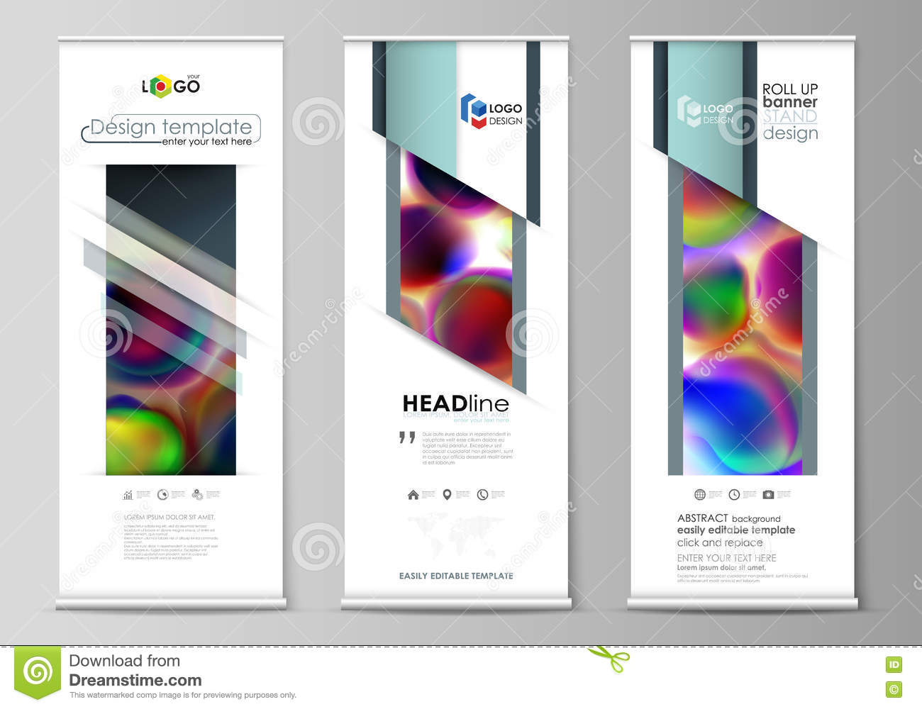 roll up banner stands flat templates geometric style modern